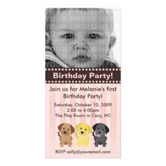 Thee Labradors Pink Birthday Invitation Photo Card