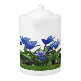 Théière de conception de tulipes bleues