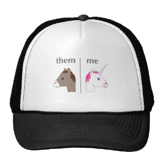 Them vs Me Donkey vs Unicorn funny Trucker Hat