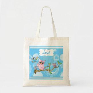 Thème de crèche du hibou | de bébé bleu sac en toile budget
