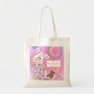 Thème doux rose de crèche de lapin sacs fourre-tout