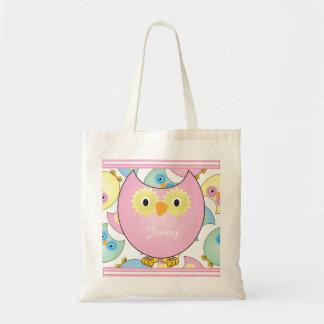 Thème en pastel de crèche de hibou de bébé dans le sac en toile budget