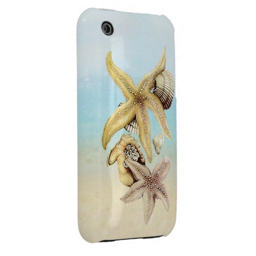 Thème mignon de poissons d'étoile et de plage d'ét coque iPhone 3