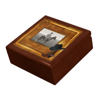 Thème occidental avec le modèle photo de botte et boîte à babioles