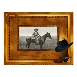 Thème occidental avec le modèle photo de botte et carte postale