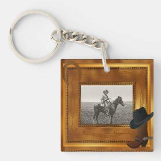 Thème occidental avec le modèle photo de botte et porte-clé carré en acrylique une face