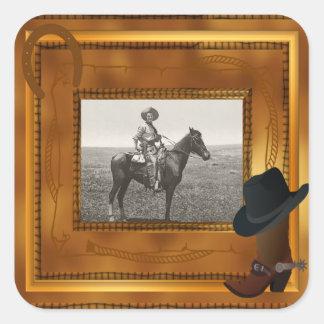 Thème occidental avec le modèle photo de botte et sticker carré
