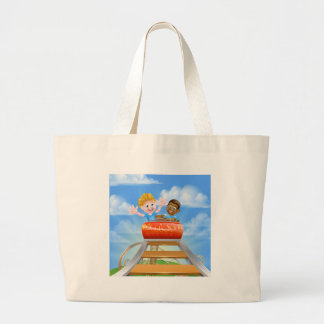 Theme Park Roller Coaster Large Tote Bag