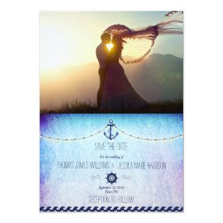 Thème Romance/nautic de coucher du soleil de Carton D'invitation 12,7 Cm X 17,78 Cm