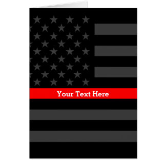 Theme Thin Red Line Personalized Black US Flag Card