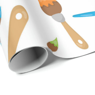 Themed aArtist paint brush wrapping paper