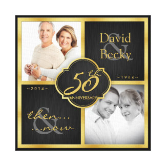 Then and Now 50th Wedding Anniversary Canvas Print