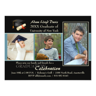 Then and Now Blue Photo Graduation Invitation