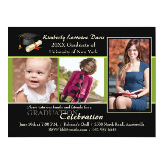 Then and Now Green Photo Graduation Invitation