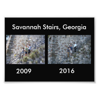 Then and Now - Savannah Stairs, GA Art Photo