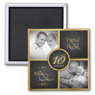 Then & Now Elegant Black & Gold 10th Wedding 2017 Square Magnet