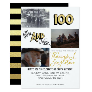 Then & Now Photo Collage | 100th Birthday Card