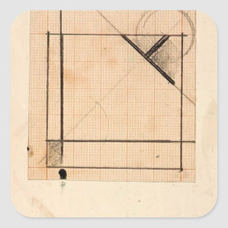 Theo Doesburg:Study for Simultaneous compositions Square Sticker