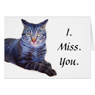 Theo Misses You Funny Cat Note Card W/ Envelope