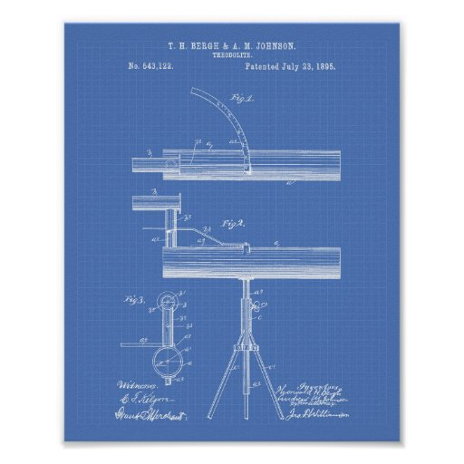 Theodolite 1895 Patent Art Blueprint Poster
