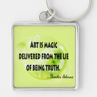 Theodor Adorno Silver-Colored Square Keychain