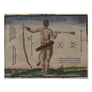 Theodor de Bry, 1528-1598, Native American Marking Poster