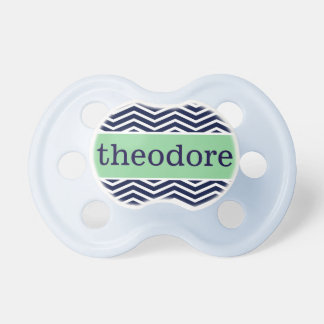 """Theodore"" Personalized Name - Chevron Print Pacifier"