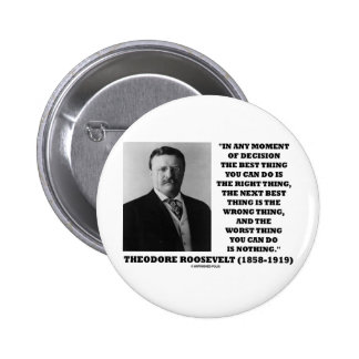 Theodore Roosevelt Decision Right Wrong Thing 2 Inch Round Button