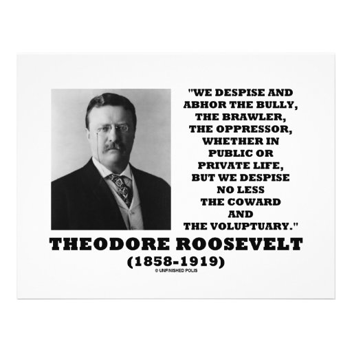 Theodore Roosevelt Despise Bully Coward Voluptuary Full Color Flyer