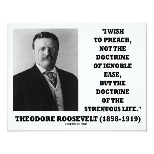 "Theodore Roosevelt Doctrine Strenuous Life 4.25"" X 5.5"" Invitation Card"