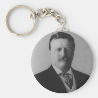Theodore Roosevelt Portrait Basic Round Button Keychain