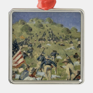 Theodore Roosevelt taking the Saint Juan Silver-Colored Square Ornament