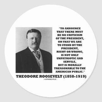 Theodore Roosevelt Treasonable American Public Classic Round Sticker