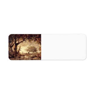 Theodore Rousseau- Edge of the Forest, Setting Sun Return Address Label