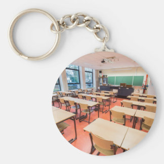 Theory classroom in high school basic round button keychain