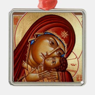 Theotokos Silver-Colored Square Ornament