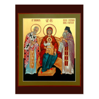 Theotokos with St. Nicholas and Blessed Seraphim Postcard