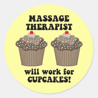 thérapeute de massage autocollants ronds