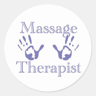 Thérapeute de massage Copies bleues de main Adhésif Rond