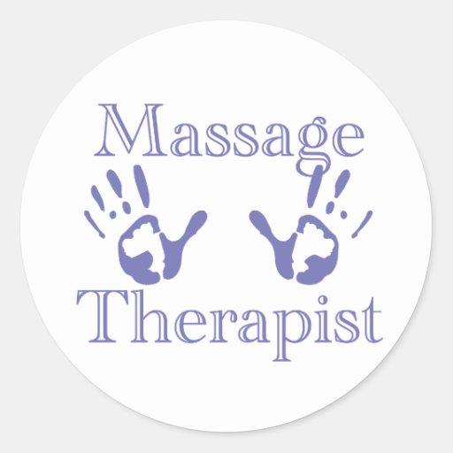 Thérapeute de massage : Copies bleues de main Adhésif Rond