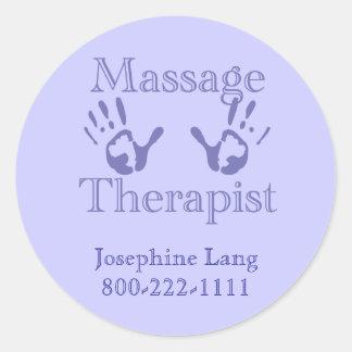 Thérapeute de massage : Copies bleues de main Sticker Rond