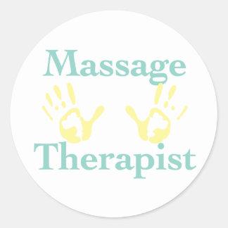 Thérapeute de massage : Copies jaunes de main Adhésifs Ronds