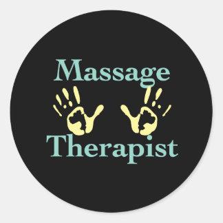 Thérapeute de massage : Copies jaunes de main Sticker Rond