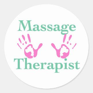 Thérapeute de massage Copies roses de main Autocollants Ronds