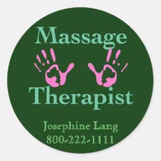 Thérapeute de massage : Copies roses de main Adhésif Rond