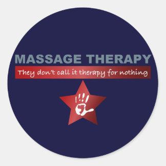 Thérapie de massage en rouge rouge autocollant rond