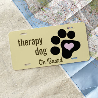 Therapy Dog on Board Black Paw License Plate