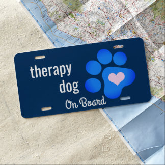 Therapy Dog on Board Blue Paw License Plate