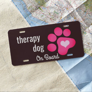 Therapy Dog on Board License Plate