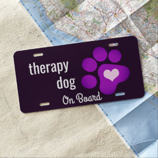 Therapy Dog on Board Purple Paw License Plate